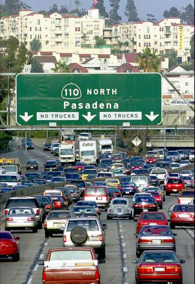 Heavy congestion is common on the 110 Freeway.