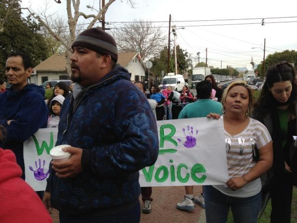 Parents protest outside Miramonte Elementary on Monday. (Photo courtesy ATVN)