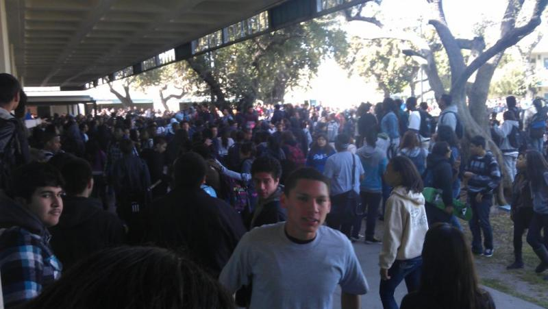 Carson High School students reacting to the massive brawl. (Photo courtesy of Twitter user Issi3_YCDB)