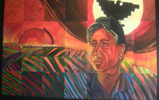 The Chavez Mural was created by artist Simon Silva