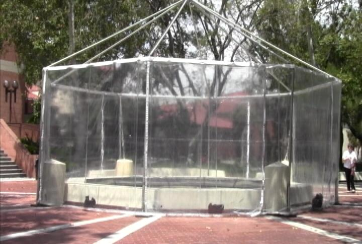 Some of the fountains on campus have been drained, or covered. Not sure what this means for the fountain run! (ATVN)