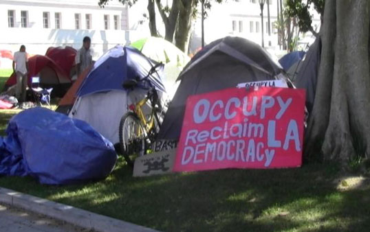 Protest tents such as this one caused damage to City Hall's front lawn