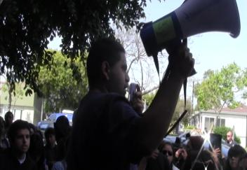 Students protest against the pepper spray incident and rising tuition costs (Photo courtesy of ATVN)