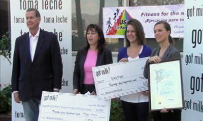 Fit Families volunteer Sara Train is honored for her work promotin health in the Latino community. (Photo courtesy ATVN)
