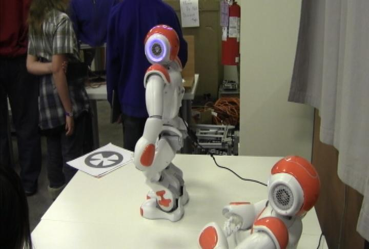Social robots are presented at the Robotics Open House (Photo by ATVN)