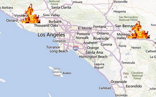 Fires are still blazing in Banning and Camarillo and there is a fire advisory for Los Angeles and Ventura Counties. (Bing Maps).
