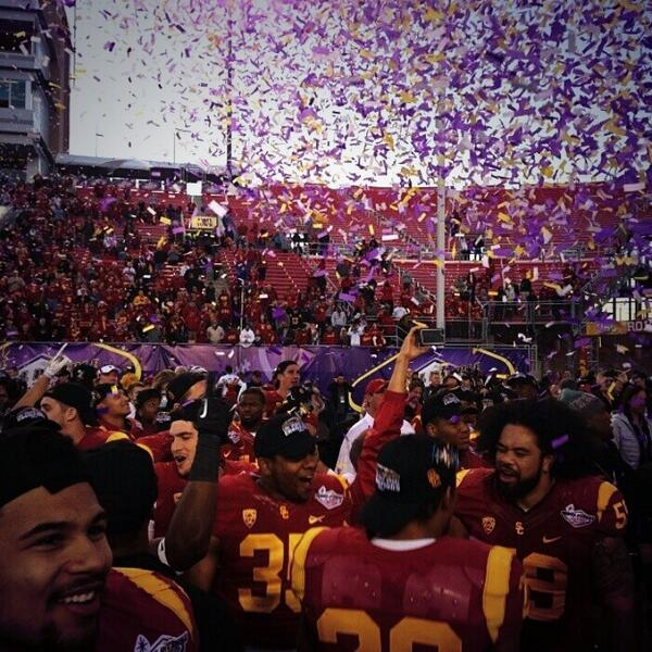 USC celebrates its first Royal Purple Las Vegas Bowl Championship.