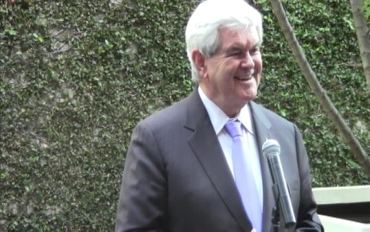 Newt Gingrich addresses supporters at a forum in Koreatown Thursday. (Photo courtesy ATVN)