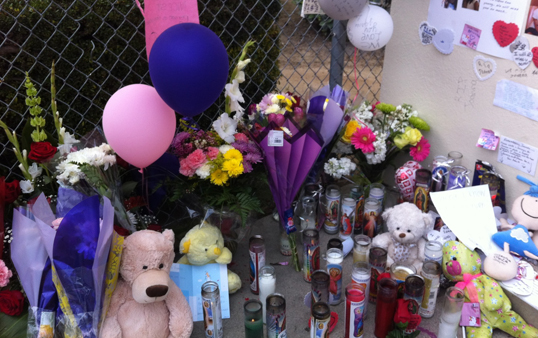 Friends and family placed rememberances for 10-year-old Joanna Ramos. (Photo courtesy ATVN)