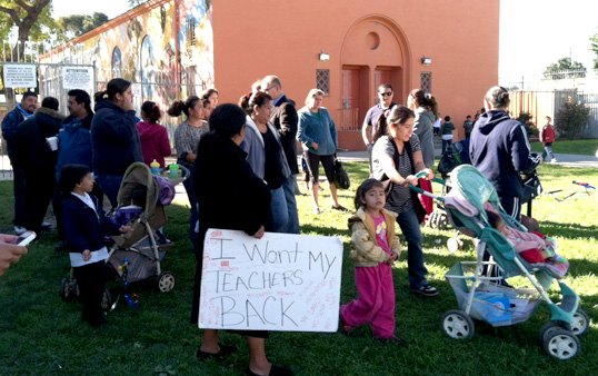 Parents protest outside Miramonte Elementary School (Photo courtesy ATVN)