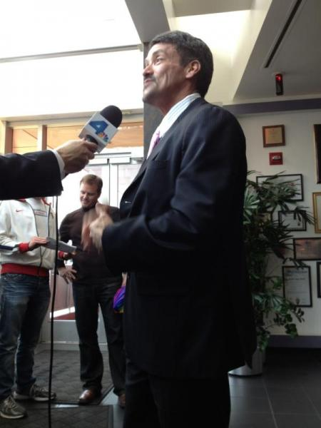 West Hollywood Mayor John Duran addresses the media shortly after the ruling on Prop 8 was announced Tuesday morning. (Photo courtesy ATVN)
