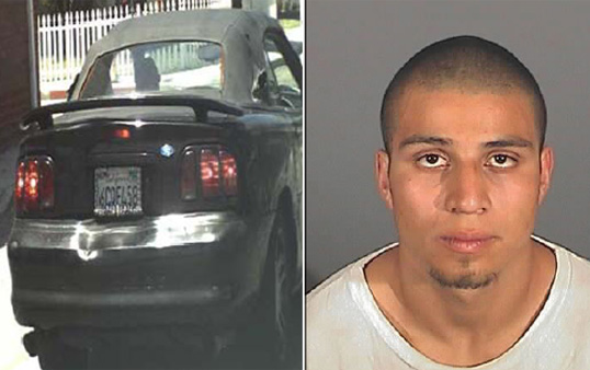 Jonathan Scott Chacon, 23, and an image of his car before it was found.  (Photo courtesy Redondo Beach Police Department)
