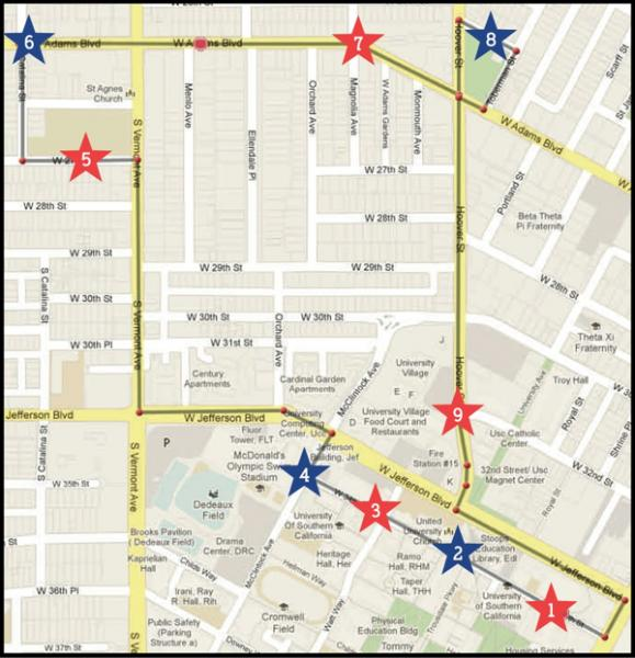 The tram will pick up and run from these locations. (Photo courtesy of USC).