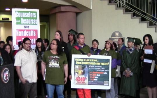 Students and teachers rallied in Van Nuys against truancy laws Monday. (Photo Courtesy ATVN)