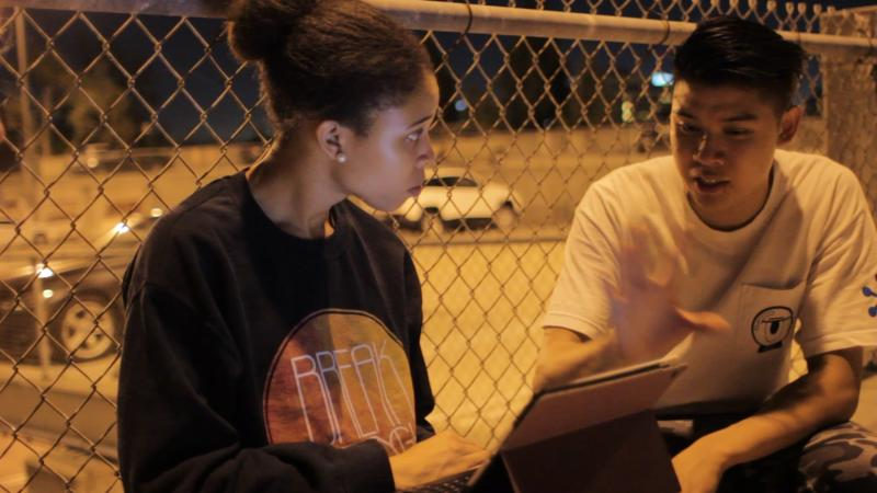 Kenya Collins (left) talks with Michael Lim (right) after a long night of practice (Cameron Quon/ATVN).