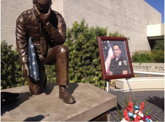 Wayne R. Presley statue and memorial for Office Ricky Galvez (Chole Marie Rivera/Annenberg Media).
